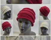 RESERVED: Custom Hand Knit Beanies, Burgundy Roll Brim Hat, Ivory Chemo Hat, Handmade in the USA