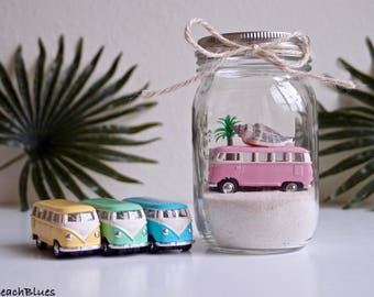 Dorm Decor / VW Bus / VW Van / Beach Car In A Jar / Beach Home Decor / Summer / Fairy Garden / Surf Decor / DIY / Terrarium / Mason Jar