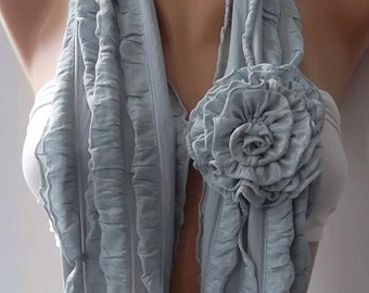 Gift for Her Grey Ruffle Scarf Fall Winter Scarf Gift for Mom Grandmother Girlfriend Women Fashion Accessories Gift for Women Winter Scarves