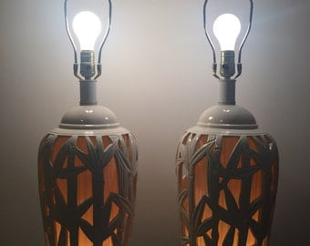 Vintage PAIR FAUX BAMBOO Table Lamps/Chinoiserie/Lanterns Nightlight/Asian/Palm Beach Chic/Chinoiserie/ Coastal at Ageless Alchemy
