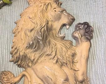 "Vintage STANDING CROWNED LION Heraldic Standing Lion English Pub Lion Cast Aluminum 3 Dimensional 31.75"" Lion Wall Decor at Ageless Alchemy"