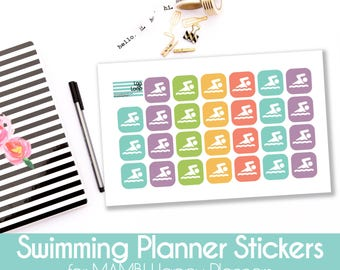 Planner Stickers - 27 Swimming Lesson Stickers for MAMBI Happy Planners or Erin Condren Life Planner