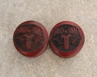 "Pair of Misprinted Red Tiger wood ""Lamb Skull"" Designed Plugs - SIZE 23mm (60% off)"