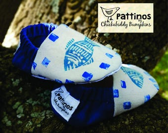 Pattinos Fish Print Baby Shoes, Crib Shoes, Booties, Soft Soled Shoes, Hand Printed Shoes, Fish Booties, Corduroy Shoes, Canvas Baby Shoes