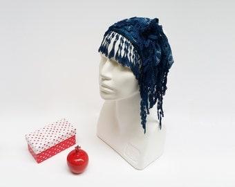 Fashion Blue Scarf, Blue Bandana Scarf, Boho Spring Scarf, Bow Turban Hair Wrap, Triangle Scarf, Boho Summer Headband, Lace Blue Scarf Wrap