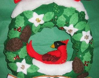 Finished Bucilla Christmas Felt Kit, Completed felt christmas wreath holiday joy wall door hanging