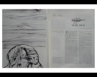 Moby Dick Redux and Review by Jerome Weidman 1956 with Illustration Fit for Framing for fan of the book.  14x10 Ready for Framing
