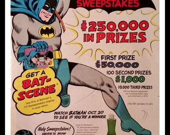 Batman & Robin 60s comic book heroes Pitch for PnG products.  Sweepstakes ad include Full page Batman.  Rare ad comic art 1960s.  13x10