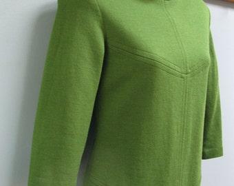 Vintage Green Wool Dress Knit Mod Dress