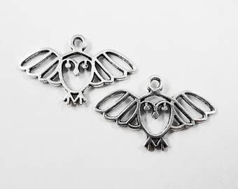Silver Owl Pendants 29x18mm Antique Silver Owl Charms, Silver Bird Charms, Metal Charms, Bird Pendants, Jewelry Making Supplies, 10pcs
