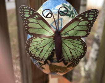 Japanese Butterfly Handmade Decoupage Paper Mache Easter Egg Ornament Origami Paper
