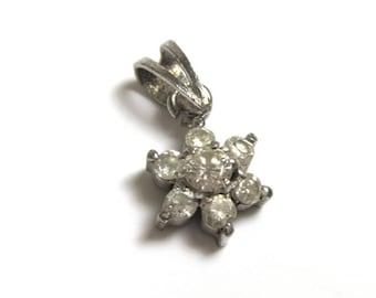 Vintage Flower Pendant - Silver Tone Star Pendant - CZ Pendant -  Spring - Floral # 2161