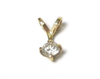 14k Yellow Gold Round Diamond Pendant Charm - Color I - J - Clarity SI 1 - Brilliant Cut Diamond # 1409