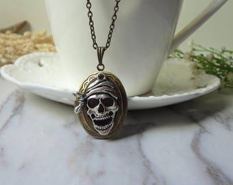 Skeleton Skull Oval  Necklace Brass Locket Pendant Necklace Handmade 0318