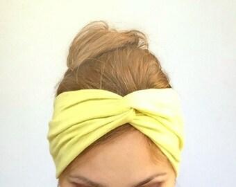 Light Yellow Turban Headband Twist Center Headwrap for Adult Woman's  Pastel Head band Easter Gift for Mom under 20 Yogi Headbands Accessory