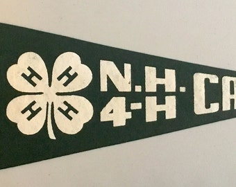 Vintage 'NH 4-H Camps' Felt Pennant, New Hampshire with Felt Crafters Seal