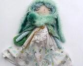"""Bunny Girl Doll, 17""""Spring Bunny Doll, Heirloom Doll, Cloth Art Doll, Blue Green Tone Doll,"""