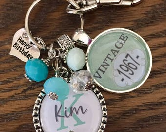 Personalized vintage 40th birthday keychain name mother sister aunt daughter 40th birthday milestone birthday vintage 1975 1985 1965 teal