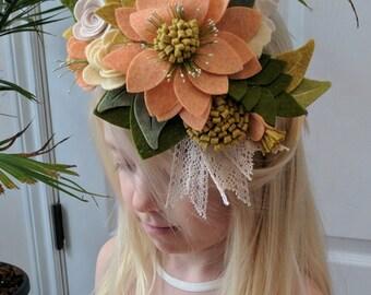Felt Flower Headband // Fascinator, Crown, Hairpiece