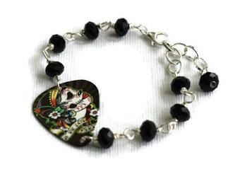 Day of the Dead Bracelet - Plectrum Bracelet - Skull Bracelet - Goth Girl Jewellery - Dia de los Muertos - Alternative Fashion