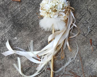 TUTU Creamy White and Ivory Pom Wand Custom Order