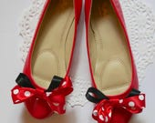 Red and White Polka Dot Ballet Flat Shoes for Women