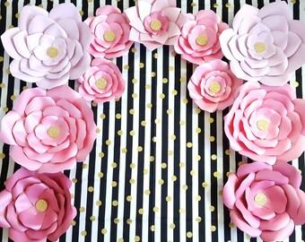 Giant Paper Flowers, Pink Gold Paper Flower Backdrop, Giant Flower Nursery Decor, Graduation Backdrop, Sweet 16 Backdrop, Baby Shower Decor