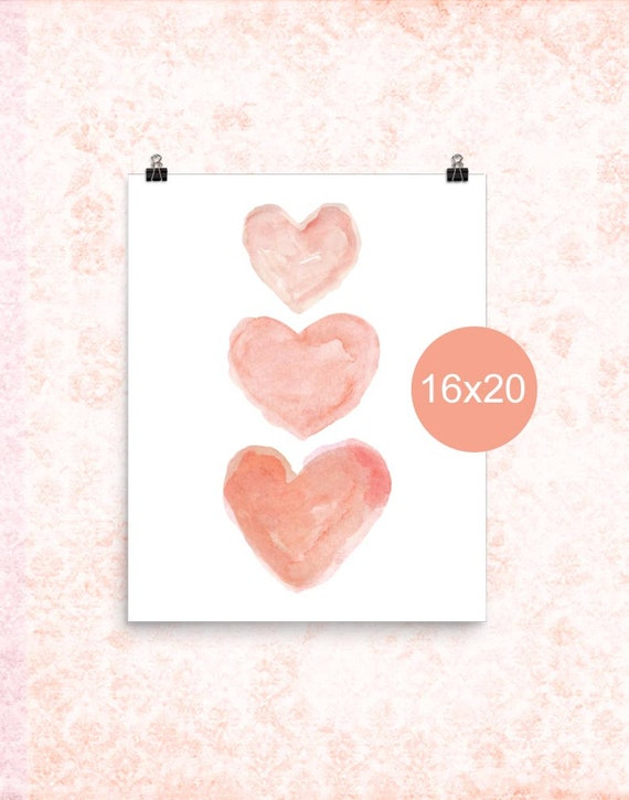 Coral Heart Poster for Girls Room, 16x20, 12x16