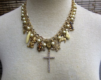 Goldtone Cluster Necklace
