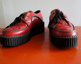 ELECTRIC CHAIR 1980's Quilted Red Leather Creepers Platform Shoes