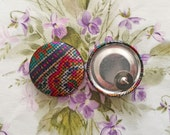Vintage Inspired Button Earrings / Mosaic / Fabric Covered / Wholesale Jewelry / Bridesmaid Gifts / Unique Gifts / Stud Earrings / Bulk