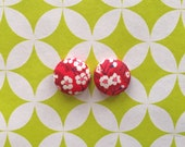 Fabric Covered Button Earrings / Wholesale Jewelry / Cherry Blossoms / Stud Earrings / Small Gifts / Liberty of London / Handmade Jewellry