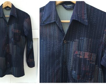70's Disco Shirt Career Club Polyester Geometric Dance Fever  // Men's Size Small
