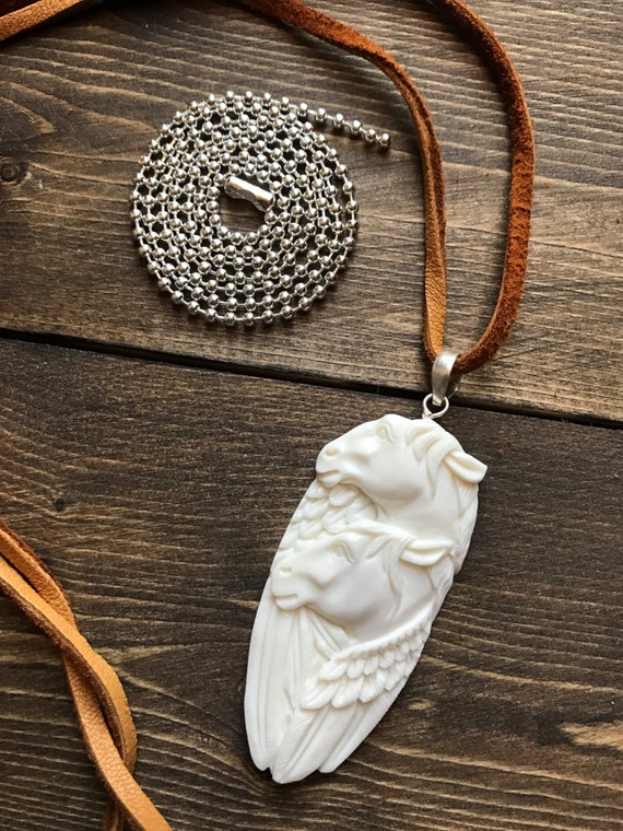 Horse Necklace, Unicorn, Pegasus,  White Horse, Handcarved, Buffalo Bone, Totem Animal, Bison Bone, Buckskin Leather Cord, Suede Cord