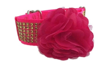 """Hot Pink Dog Collar Flower Accessory for 3/4"""",  1"""" or 1-1/2"""" Dog Collar"""