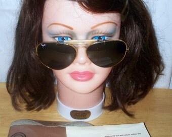 Vintage Ray-Ban - B&L - Aviator - 62[]14 - 1970s - Grey Green - Plus CASE
