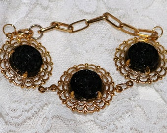 Antique Button Bracelet - Black Glass - Mourning Button - Recycled - Brass - Chain Link Bracelet - Circa 1880s - Prong Set Buttons