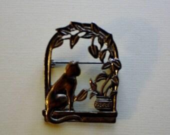 Bronze JJ Brooch Pin / Sitting Kitty Cat in the Window /