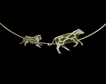 Working Australian Shepherd (no tail) and Cow necklace - gold