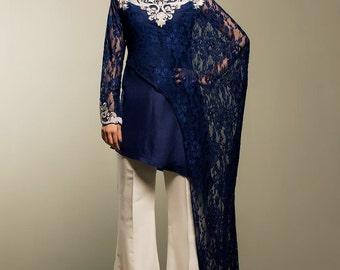 Zainab Chottani midnight blue madness, master replica chiffon dress, Indian/pakistani/bengali formal shalwar kameez, luxury pret,