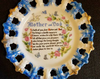 Vintage Mother and Dad Collectible Plate 1960s era Made in Japan