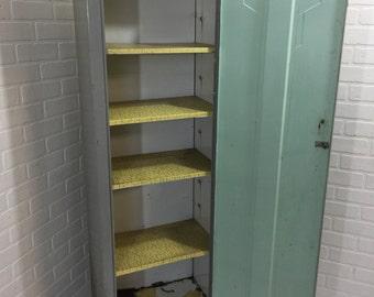 Mid Century Metal Kitchen Pantry Vintage Steel Cabinet Adjustable Shelves Art Deco Storage