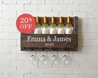 Wine Rack Personalized Gift - Family Name - Bridesmaid - Groomsmen- Wedding Gift - Mother Bride Gift - Engagement Gift