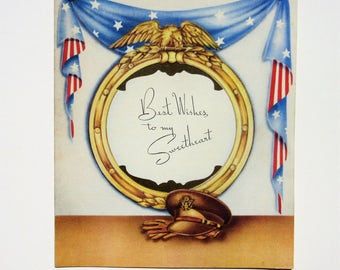 Vintage Unused Military Greeting Card Best Wishes to My Sweetheart Featuring Patriotic Colors and Flag for Soldiers Americana Made in USA