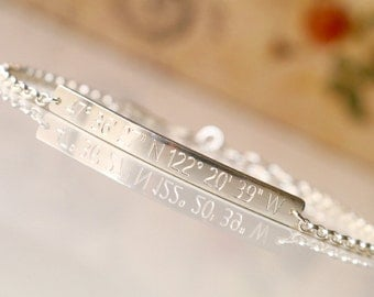 SILVER Coordinates Bracelet - GPS Coordinates Bracelet, Perfect Bar Bracelet, Custom Engraved Bracelet, Gift for her - B4042R