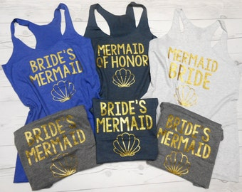 Mermaid Bachelorette Tanks Tops, Mermaid Wedding Party Tanks, Mermaid Titles Tanks, Brides Mermaid of Honor, Mermaid Squad Tanks Tops