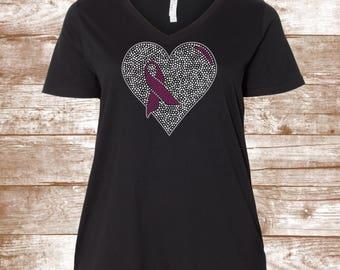 Breast Cancer Awareness Shirt - Cancer Ribbon - Beat Cancer - I Wear Pink for... Hope Strength - Awareness Shirt - Bling - BEAT CANCER