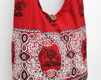 Women bag Handbags Thai Cotton bag Elephant bag Hippie Hobo bag Boho bag Shoulder bag Sling bag Messenger bag Tote Crossbody bag Purse Red