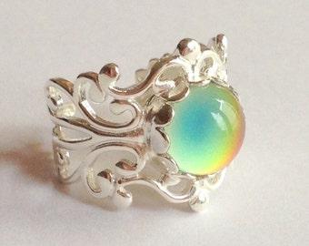 Sterling Silver 925 Mood Ring Filigree Antique Vintage Style Adjustable