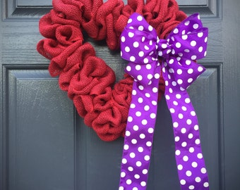 Red Heart Wreath, Purple, Love Gift, Valentines Day Wreath, Burlap Heart, Polka Dots, Red Heart Wreath, Heart Decor, Heart Gifts